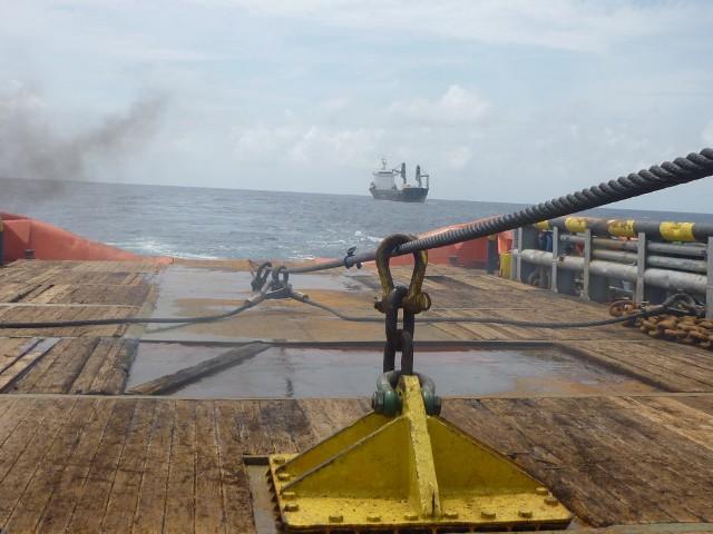 CORAL SEA FOS towing MV SABRINA SCAN