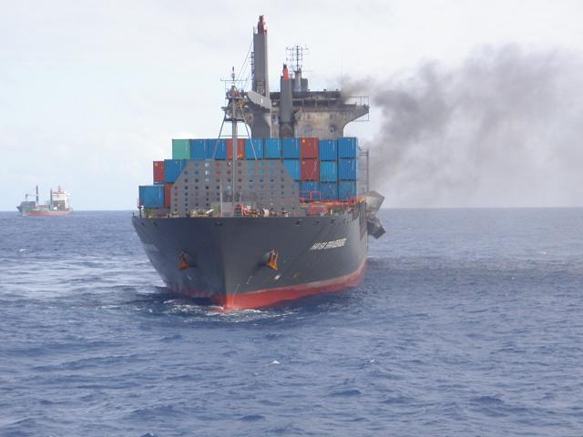 Five Oceans Salvage - MV HANSA BRANDENBURG on fire