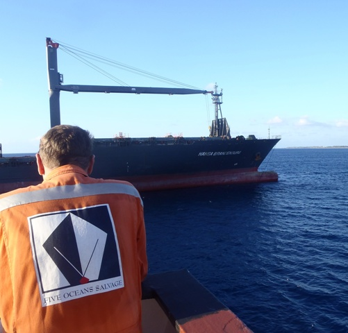 Five Oceans Salvage - View from CORAL SEA FOS